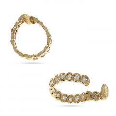 Van Cleef Arpels VAN CLEEF ARPELS DIAMOND AND GOLD HOOP EARRINGS - 1964926