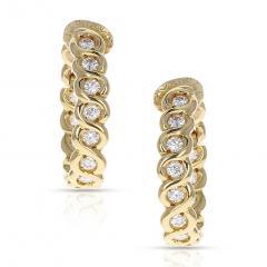 Van Cleef Arpels VAN CLEEF ARPELS DIAMOND AND GOLD HOOP EARRINGS - 1964929