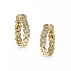 Van Cleef Arpels VAN CLEEF ARPELS DIAMOND AND GOLD HOOP EARRINGS - 1965668