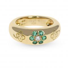 Van Cleef Arpels VAN CLEEF ARPELS EMERALD AND DIAMOND FLORAL RING WITH ALHAMBRA DESIGN 18K - 1954927