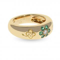 Van Cleef Arpels VAN CLEEF ARPELS EMERALD AND DIAMOND FLORAL RING WITH ALHAMBRA DESIGN 18K - 1954928