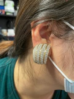 Van Cleef Arpels VAN CLEEF ARPELS FOUR CURVE COCKTAIL EARRINGS WITH 12 CT DIAMONDS 18K YELLOW - 2086636