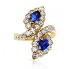 Van Cleef Arpels VAN CLEEF ARPELS FRENCH DOUBLE PEAR SHAPE SAPPHIRE AND DIAMOND COCKTAIL RING - 2086696