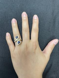 Van Cleef Arpels VAN CLEEF ARPELS FRENCH DOUBLE PEAR SHAPE SAPPHIRE AND DIAMOND COCKTAIL RING - 2086697
