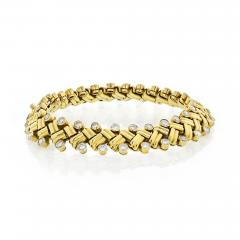 Van Cleef Arpels VAN CLEEF ARPELS GRAIN OF RICE 18K YELLOW GOLD DIAMOND BRACELET - 1735944
