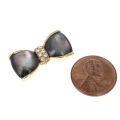 Van Cleef Arpels VAN CLEEF ARPELS LABRADORITE AND DIAMONDS BOW PIN AND BROOCH 18K YELLOW - 1964935