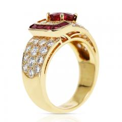 Van Cleef Arpels VAN CLEEF ARPELS OVAL RUBY AND DIAMOND RING WITH INVISIBLY SET RUBIES 18K - 2031110