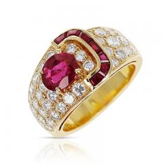 Van Cleef Arpels VAN CLEEF ARPELS OVAL RUBY AND DIAMOND RING WITH INVISIBLY SET RUBIES 18K - 2031111