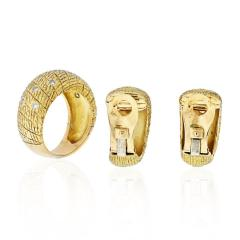 Van Cleef Arpels VCA 18K YELLOW GOLD 1970S DIAMOND EARRINGS AND A RING JEWELRY SET - 1932171