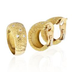 Van Cleef Arpels VCA 18K YELLOW GOLD 1970S DIAMOND EARRINGS AND A RING JEWELRY SET - 1932172