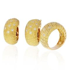 Van Cleef Arpels VCA 18K YELLOW GOLD 1970S DIAMOND EARRINGS AND A RING JEWELRY SET - 1932173