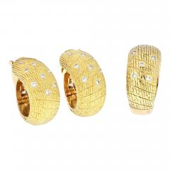 Van Cleef Arpels VCA 18K YELLOW GOLD 1970S DIAMOND EARRINGS AND A RING JEWELRY SET - 1934886