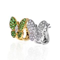 Van Cleef Arpels VCA 18K YELLOW GOLD FLYING BEAUTIES DIAMONDS AND TSAVORITE BUTTERFLY EARRINGS - 1902666