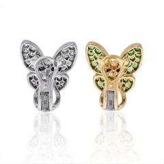 Van Cleef Arpels VCA 18K YELLOW GOLD FLYING BEAUTIES DIAMONDS AND TSAVORITE BUTTERFLY EARRINGS - 1902667