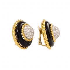 Van Cleef Arpels Van Cleef Arpels 1960s Onyx Gold and Diamond Cluster Earrings - 1219047