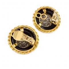 Van Cleef Arpels Van Cleef Arpels 1960s Onyx Gold and Diamond Cluster Earrings - 1219048