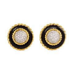 Van Cleef Arpels Van Cleef Arpels 1960s Onyx Gold and Diamond Cluster Earrings - 1219054