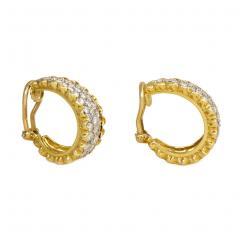 Van Cleef Arpels Van Cleef Arpels 1970s Gold and Diamond Front Facing Hoop Earrings - 1404952