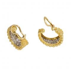 Van Cleef Arpels Van Cleef Arpels 1970s Gold and Diamond Front Facing Hoop Earrings - 1404955