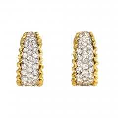 Van Cleef Arpels Van Cleef Arpels 1970s Gold and Diamond Front Facing Hoop Earrings - 1405549