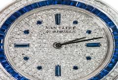 Van Cleef Arpels Van Cleef Arpels 1990s 18k Gold Pave Diamond Dial Sapphire Bracelet Watch - 1171580