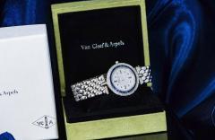 Van Cleef Arpels Van Cleef Arpels 1990s 18k Gold Pave Diamond Dial Sapphire Bracelet Watch - 1171581