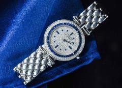 Van Cleef Arpels Van Cleef Arpels 1990s 18k Gold Pave Diamond Dial Sapphire Bracelet Watch - 1171582