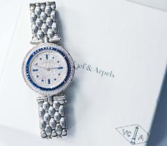 Van Cleef Arpels Van Cleef Arpels 1990s 18k Gold Pave Diamond Dial Sapphire Bracelet Watch - 1171583