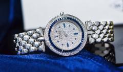 Van Cleef Arpels Van Cleef Arpels 1990s 18k Gold Pave Diamond Dial Sapphire Bracelet Watch - 1171584