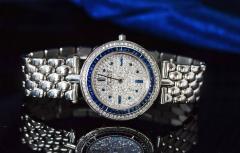 Van Cleef Arpels Van Cleef Arpels 1990s 18k Gold Pave Diamond Dial Sapphire Bracelet Watch - 1171585