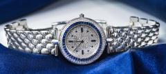 Van Cleef Arpels Van Cleef Arpels 1990s 18k Gold Pave Diamond Dial Sapphire Bracelet Watch - 1171586