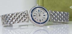 Van Cleef Arpels Van Cleef Arpels 1990s 18k Gold Pave Diamond Dial Sapphire Bracelet Watch - 1171587