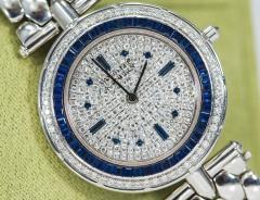 Van Cleef Arpels Van Cleef Arpels 1990s 18k Gold Pave Diamond Dial Sapphire Bracelet Watch - 1171589