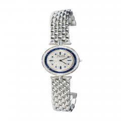 Van Cleef Arpels Van Cleef Arpels 1990s 18k Gold Pave Diamond Dial Sapphire Bracelet Watch - 1171789