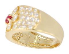 Van Cleef Arpels Van Cleef Arpels Floral Ruby and Diamond Ring 18 Karat with Original VCA Box - 1795292