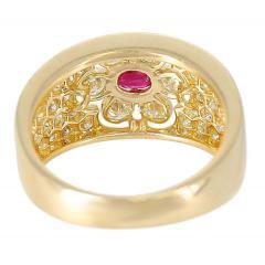 Van Cleef Arpels Van Cleef Arpels Floral Ruby and Diamond Ring 18 Karat with Original VCA Box - 1795294
