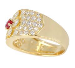 Van Cleef Arpels Van Cleef Arpels Floral Ruby and Diamond Ring 18 Karat with Original VCA Box - 1795295
