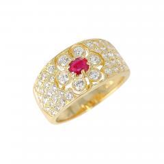 Van Cleef Arpels Van Cleef Arpels Floral Ruby and Diamond Ring 18 Karat with Original VCA Box - 1797641