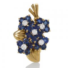 Van Cleef Arpels Van Cleef Arpels French Retro Gold Diamond and Sapphire Bouquet Earrings - 1239241