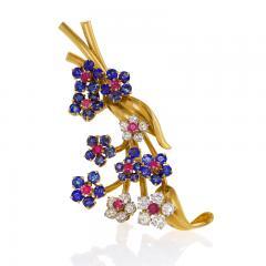Van Cleef Arpels Van Cleef Arpels Mid Century Diamond Ruby Sapphire and Gold Hawaii Brooch - 941423