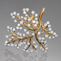 Van Cleef Arpels Van Cleef Arpels Paris Mid 20th Century Diamond and Gold Capillaire Brooch - 856835