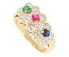 Van Cleef Arpels Van Cleef Arpels Tri Floral Emerald Ruby Sapphire and Diamond Ring Org Box - 1795298