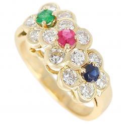 Van Cleef Arpels Van Cleef Arpels Tri Floral Emerald Ruby Sapphire and Diamond Ring Org Box - 1795300