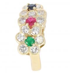 Van Cleef Arpels Van Cleef Arpels Tri Floral Emerald Ruby Sapphire and Diamond Ring Org Box - 1795301