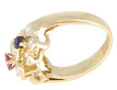 Van Cleef Arpels Van Cleef Arpels Tri Floral Emerald Ruby Sapphire and Diamond Ring Org Box - 1795306