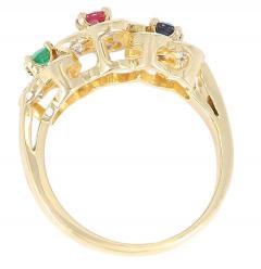 Van Cleef Arpels Van Cleef Arpels Tri Floral Emerald Ruby Sapphire and Diamond Ring Org Box - 1795309