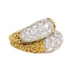 Van Cleef Arpels Van Cleef and Arpels France Estate Gold and Diamond Double Bomb Ring - 1793170