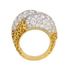 Van Cleef Arpels Van Cleef and Arpels France Estate Gold and Diamond Double Bomb Ring - 1793172