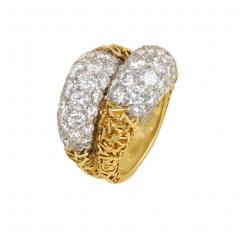 Van Cleef Arpels Van Cleef and Arpels France Estate Gold and Diamond Double Bomb Ring - 1793174