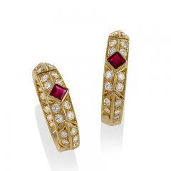 Van Cleef and Arpels Gold Ruby and Diamond Earrings by Van Cleef Arpels - 736802